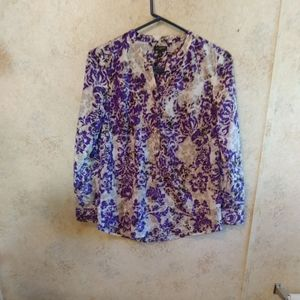 Talbot's Petites Purple&Silver Button Up Blouse